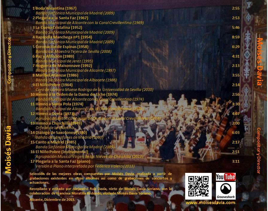 Trasera CD recopilatorio 2013